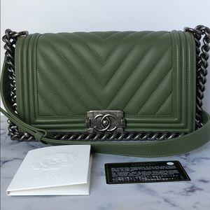 3afc48abea5f CHANEL Bags | Preloved Boy Bag Veau Olive Old Medium | Poshmark